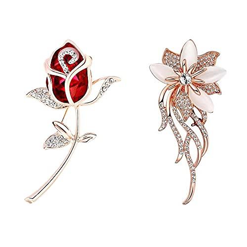 Nifocc Broche para mujer con diseño de ramo de rosas, de cristal, para vestidos, suéteres, abrigos, sombreros decorativos, bodas, Navidad, fiestas, joyas, regalos, 2 unidades