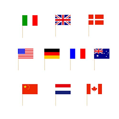 BESTONZON 100 Stücke Flagge Kuchen Topper Cupcake Picks Kuchenstecker Tortenstecker Kuchendekoration für Nationaltag Kindergeburtstag Party Deko