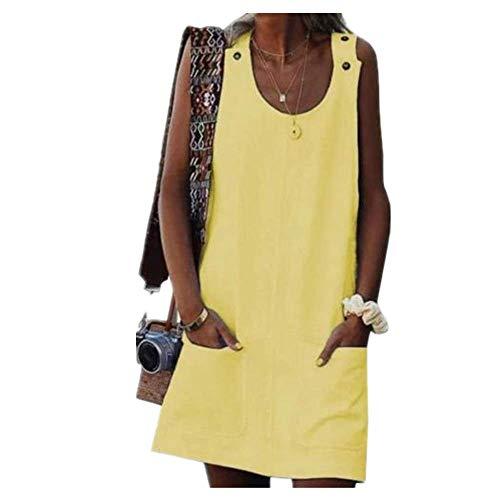 N\P Vestido de playa casual con bolsillo de color sólido para mujer, vestido de botón sin mangas
