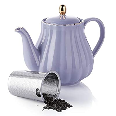 Amazingware Royal Teapot, Porcelain Tea Pot with Stainless Steel Infuser, with a Filter for Loose Tea, Pumpkin Fluted Shape - 28oz, Purple