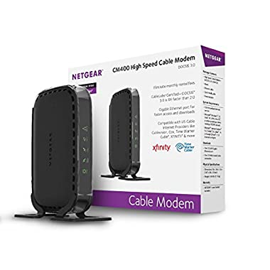 NETGEAR CM400 8x4 DOCSIS 3.0 Cable Modem. (NO WIRELESS/MODEM ONLY) Works for Xfinity from Comcast, Spectrum, Cox, Cablevision & More
