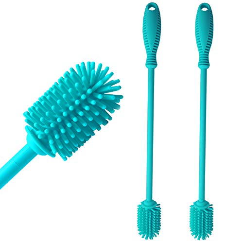 EZIK Set of 2 Silicone Bottle Brush Bottle Cleaner Lab Cleaning Brush Suitable for Baby Bottles Sports Bottle Vase Glassware Narrow Neck Containers Blue