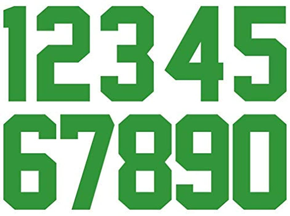 0 to 9 Numbers 8 inch Tall Iron On Numbers for Sports T-Shirt Jersey Heat Transfer Paper Patches (Green)