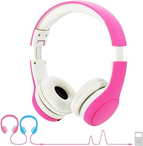 Hoofdtelefoon kinderen, hoofdtelefoon voor kinderen met 93 dB volume, begrenzing, gehoorbescherming & muziek-Sharing-functie, kinderhoofdtelefoon voor jongens meisjes 3-8 jaar roze