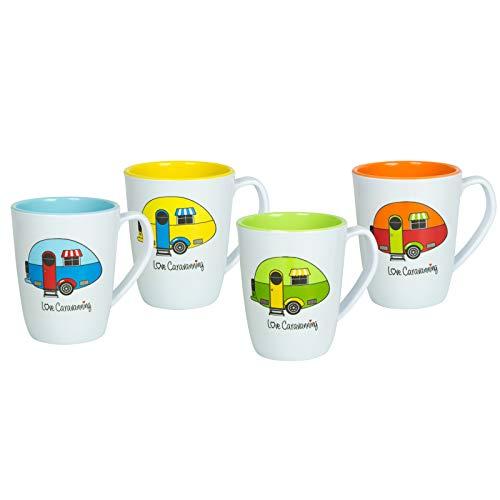 Melamin Geschirr 4 Becher 350 ml ideal für Camping bunten fröhlichen Farben Trinkbecher Kaffeetasse Kaffeebecher Tasse Campinggeschirr Picknick Kindergeschirr modernes Melamingeschirr Outdoor Tassen