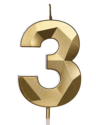 PartyWoo Geburtstagskerzen Zahlen, Gold Geburtstagskerzen, Kerzen Geburtstag, Geburtstag Kerzen, Tortendeko Geburtstag, Kuchendeko Geburtstag, Geburtstagskerzen für Geburtstagsdeko (Nummer 3)