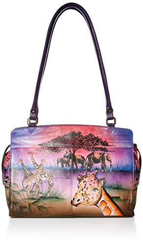 Anna by Anuschka Umhängetasche, echtes Leder, handbemalt, Originaldesign, (Serengeti Sunset), Einheitsgröße