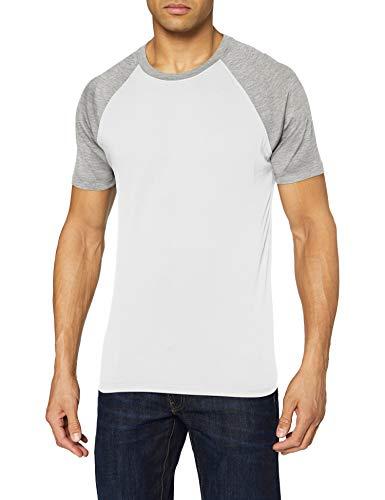 Urban Classics Raglan Contrast tee Camiseta, Multicolor (White/Grey 00230), XXXL para Hombre