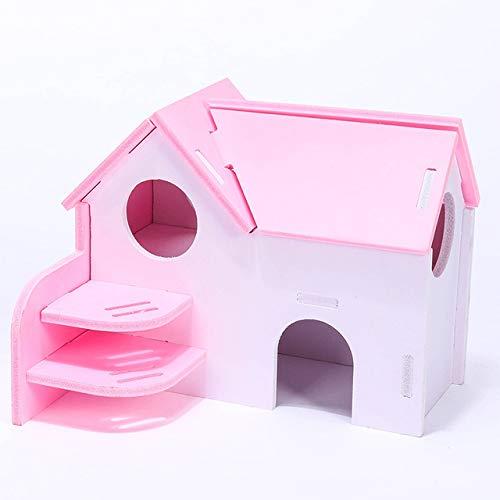 qwert Linda pequeña casa de Madera para Mascotas, hámster, Ardilla, Erizo, Villa de Dos Pisos, Mini cabaña de Animales, Bungalow, Nido para Dormir, Rosa