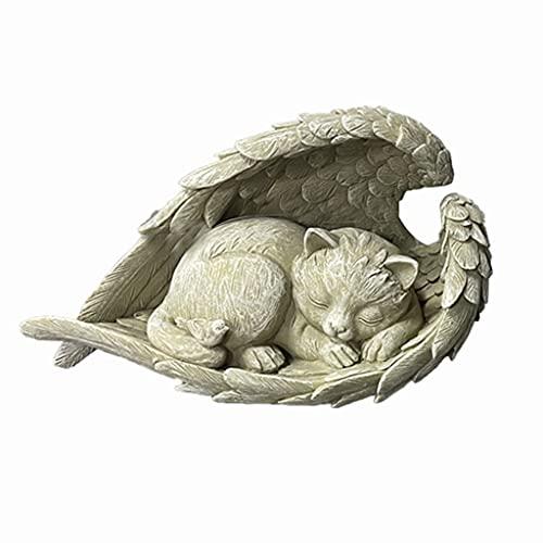 Craft Memorial Statues Lovely Lifelike Honor Pet Sleeping Pet Angel Sculpture Keepsake Home Yard Patio Lawn Grave Figurine Décor Artwork Collectible - Cat