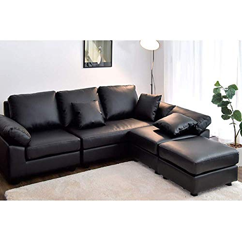 CasaStyle Carloss 5 Seater Interchangeable L Shape Sofa Set in Leatherette (Black)