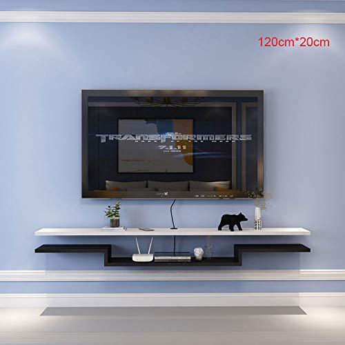 Flotante para TV Mueble, 120 Cm * 20 Cm Mueble TV Suspendido, Modulo TV Salon Madera Maciza, Estrecho, para Enrutadores, Decodificadores, Reproductores De DVD, CD,Black and White