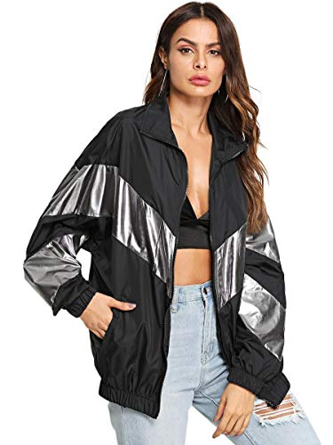 SweatyRocks Women's Lightweight Windbreaker Patchwork Zipper Sport Jacket Coat Outerwear Black M