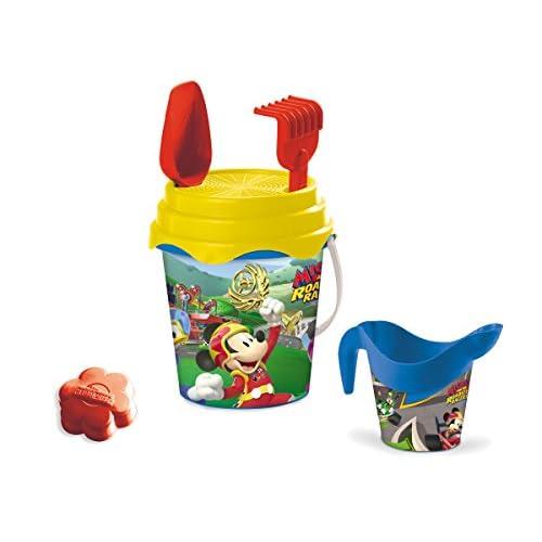 Mondo Toys Disney Mickey Mouse Bucket Set, Set Mare Renew Toys con Secchiello, Paletta, Rastrello, Setaccio, Formina, Annaffiatoio Inclusi, 18535