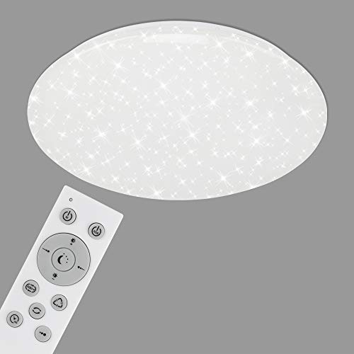 Briloner Leuchten - LED Deckenleuchte, WiFi Deckenlampe mit Sternendekor, dimmbar, RGB, App-Steuerung, inkl. Fernbedienung, Timerfunktion, Memoryfunktion, 42 Watt, 3.800 Lumen, Weiß, Ø 50cm