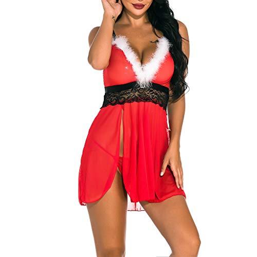 Shineshae Damen Sexy Weihnachten Spitze Kostüm Dessous Nachthemd Set Erotik Rot Weihnachtsfrau Unterwäsche Babydoll Strapse Nachtkleid String Unterhose Cosplay Lingerie Nachtwäsche 2PC Sets