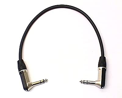 """0.3m Patch Lead, Right Angled Stereo TRS 1/4"""" Jack - Re'an, Black"""