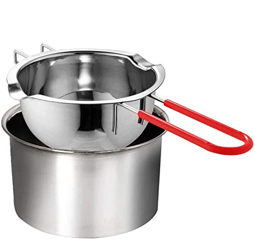 Double Boiler Stainless Steel Pot with Heat Resistant Handle,Large Capacity for Melting Chocolate, Butter, Cheese, Caramel and Candy