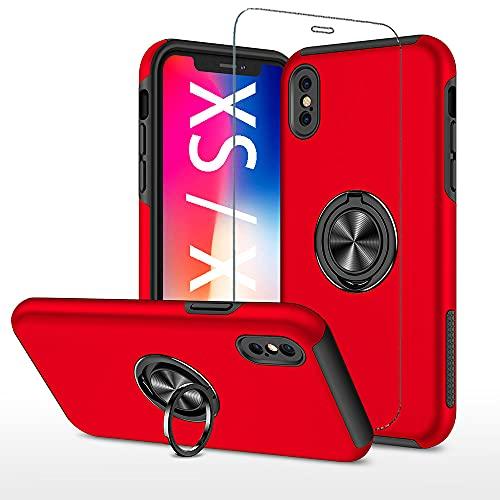 スマホケース iPhone xs x ケース + アイフォン 10 强化 ガラス フィルム リング スタンド 付き 耐衝撃 iPhonexs アイフォンxs あいふぉんてん 背面 カバー レッド