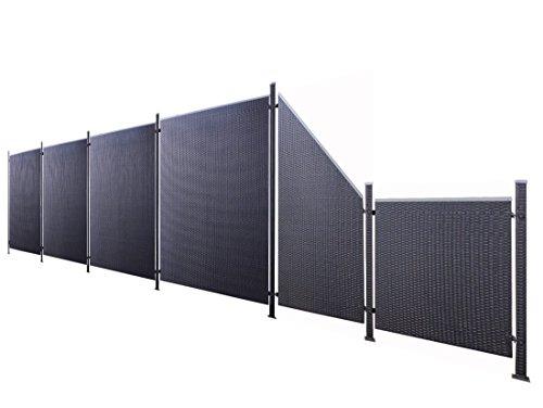 Poly-Rattan Sichtschutz / Zaun-Set 13-teilig schwarz ca. 777cm Prime Tech