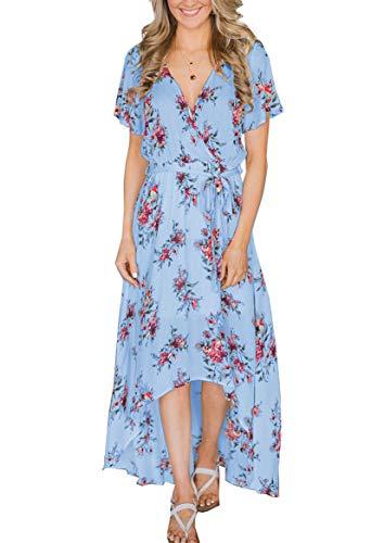 Women's Floral Maxi Summer Dresses Boho V Neck Split Beach Party Dress $22.19 (40% Off with code)