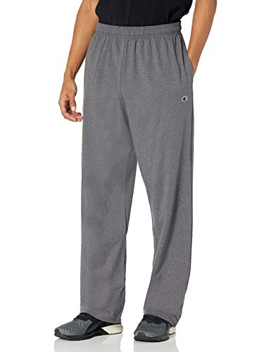 Champion Men's Open Bottom Light Weight Jersey Sweatpant, Granite Heather, Medium