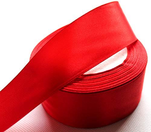 CaPiSo® 22m Satinband 40mm Breite Schleifenband Geschenkband Dekoband Weihnachten Hochzeit (Rot, 22m)