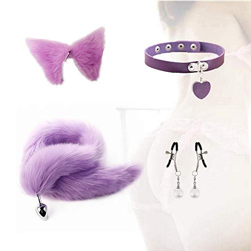para regalo de parejas - Anạl Plụg Fox Tail and Ears Acero inoxidable Bụtt Fox Cosplay Tọys (Morado claro, L)