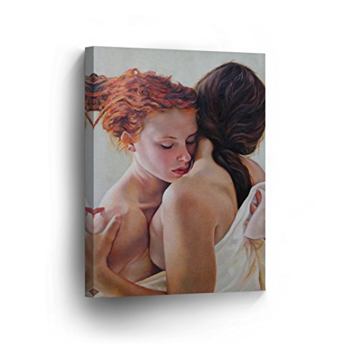 Lesbian Couple Love Oil Painting Canvas Print Hugging LGBT Love Sexy Decorative Wall Art Decor Artwork Wrapped Stretcher Bars Ready to Hang%100 Handmade in The USA - 12x8