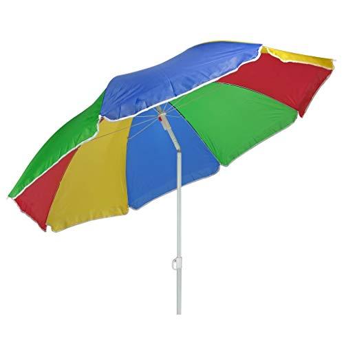 HI Sonnenschirm 180cm Strandschirm Balkonschirm Schirm Regenbogen Regenbogenfarben