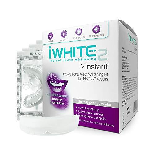 Kit de blanqueamiento dental iWhite Instant 2 con 10 moldes - Hasta 8 tonos más claros - Restaura el esmalte - Blanqueamiento dental profesional - Ingredientes probados clínicamente - Blanqueamiento físico