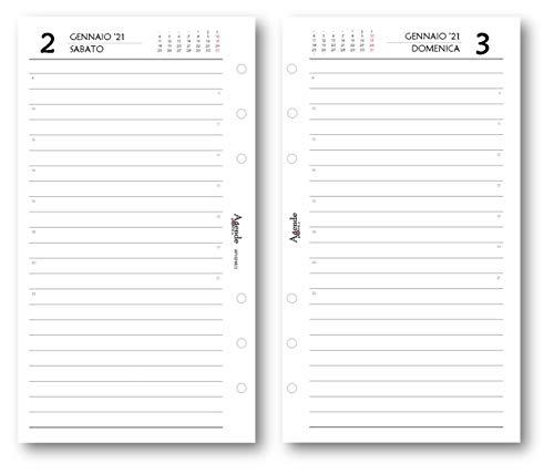 Ricambio agenda 2021 giornaliero ESSENTIAL bianco (9,5 x 17) ricambio a 6 fori agenda organizer