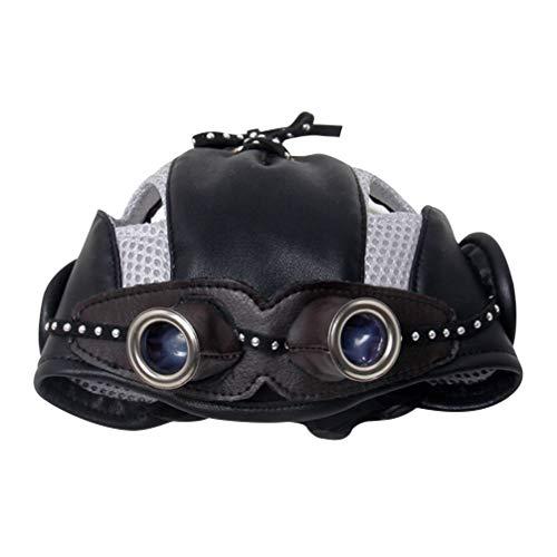 Balacoo Chapeau d aviateur pour Chien de Compagnie avec Lunettes en Cuir Pilote Motos Chapeau Accessoires de Costume de Pilote Vintage pour Chiot (Noir)