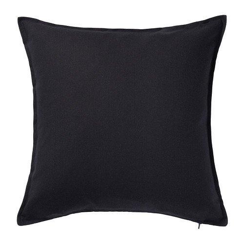 Ikea Gurli Kissenbezug, 50 x 50 cm, Schwarz, 3 Stück