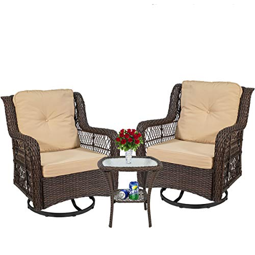EasyLife185 3 Piece Patio Furniture, Outdoor Swivel Rocker Patio Chairs,Wicker Rattan Bistro Furniture Set,Outdoor Swivel Rocking Conversation Set Furniture,with Glass Coffee Table and Cushions Brown