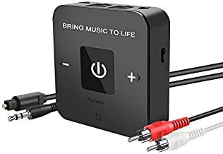 Friencity Bluetooth 5.0 Transmitter Receiver for TV Home Stereo, Wireless Audio Adapter for PS4 PC Radio Projector DVD w/ Digtal Optical 3.5mm Aux RCA, Voulme Control, Dual Stream, No Audio Delay