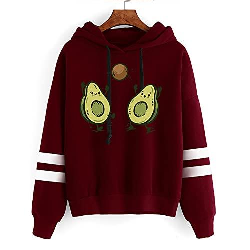 Sudadera con Capucha Unisex Avocado Estampado Hip Hop Sudadera Mangas Largas Cool Street Hoodie Sweatshirt Tops Pullover (Red1,M)