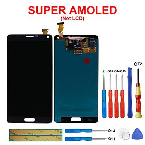swark Super AMOLED Display Kompatibel mit Samsung Galaxy Note 4 SM-N910C, SM-N910F, (Schwarz ohne Rahmen) LCD Display Touchscreen Bildschirm Digitizer Assembly Glas + Tools