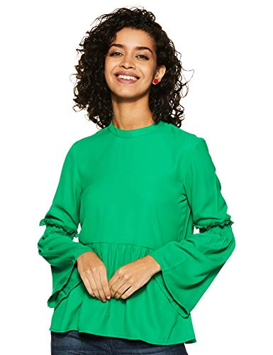 Amazon Brand - Eden & Ivy Women's Solid Slim Fit Blouse (EIAW19TP021_Green M)