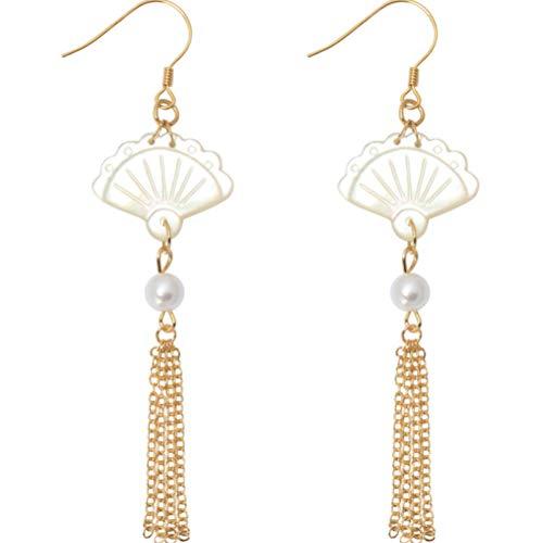 Pendientes para mujer largos Antialérgicos Pendientes de borla de abanico de perlas...