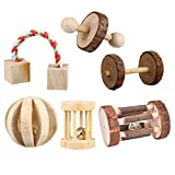 CCCYMM 6 Pcs Pet Natural Wooden Chew Toys Dumbells Exercise Bell Molar Toy for Parrot, Rabbit, Chinchilla, Guinea Pig, Hamster Small Animals