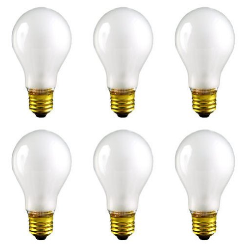 CEC Industries TS100 (Frosted) Silicone Coated, Rough Service Bulbs, 130 V, 100 W, E26 Base, A-19 shape (Box of 6)