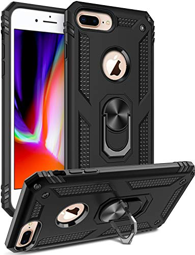 iPhone 8 Plus Case,iPhone 7 Plus Case,iPhone 6 6s Plus Case,LUMARKE Military Grade Shockproof Cover with Kickstand Protective Phone Case for iPhone 6 6s Plus/7 Plus/8 Plus Black