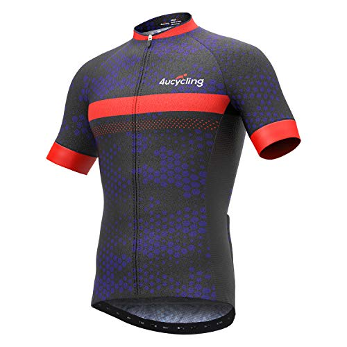 Men's Short Sleeve Cycling Jersey Full Zip Moisture Wicking, Breathable Running Top - Bike Shirt (Black+Orange, US Size 2XL)