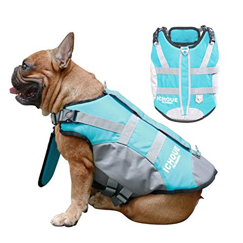 iChoue Dog Life Jackets Saver Swimming Vest Floating Plate for Small French Bulldog Pug Puppy (Blue, S)