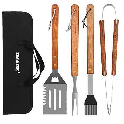 IMAGE Wooded BBQ Accessories Grilling Tools,Stainless Steel BBQ Tools Grill Tools Set for Cooking, Backyard Barbecue & Outdoor Camping Gift for Man Dad Women Barbecue Enthusiasts Set of 4