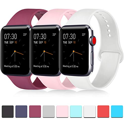 Pack 3 Compatible with Apple iWatch Bands 42mm, Soft Silicone Band Compatible iWatch Series 4, Series 3, Series 2, Series 1 (Wine Red/Pink/White, 42mm/44mm-S/M)