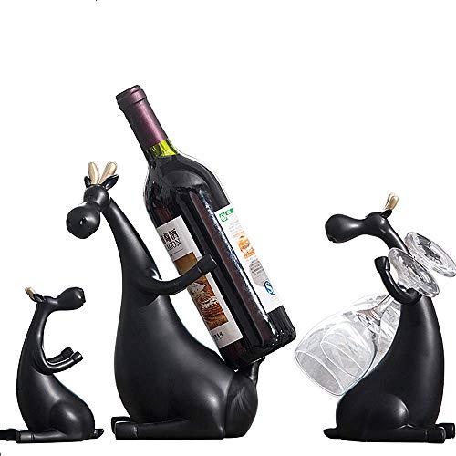Schwarz Familie von DREI Hirsch Gläser Wein Einhängegestell Desktop einzelne Flaschenlagerhalterung Bar Weinkeller (einschließlich Geschenk-Box-Verpackung + Thema Postkarte) platziert