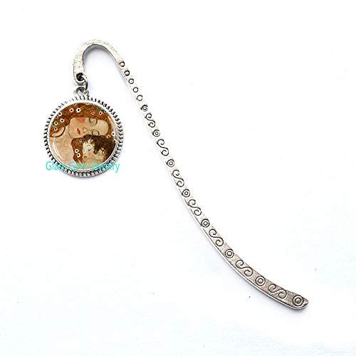 """Segnalibro con scritta """"Mother and Gustav Klimt"""", segnalibro Klimt, regalo per la festa della mamma, segnalibro per la mamma, Q0103"""