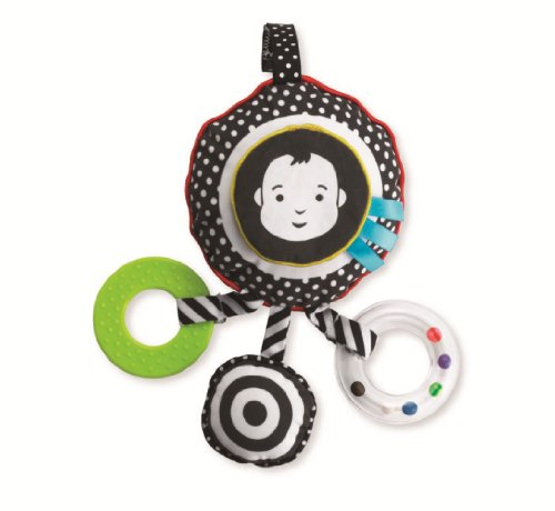 Manhattan Toy, Giocattolo da viaggio con sonaglio, chiusura in velcro per fissare a passeggino/seggiolino